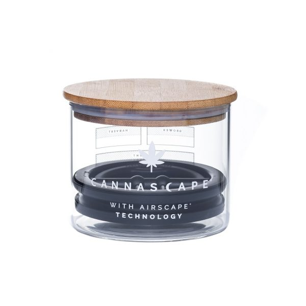 Photo of Cannascape Glass storage canister with wooden lid on top and inner Airscape lid visible, with white background