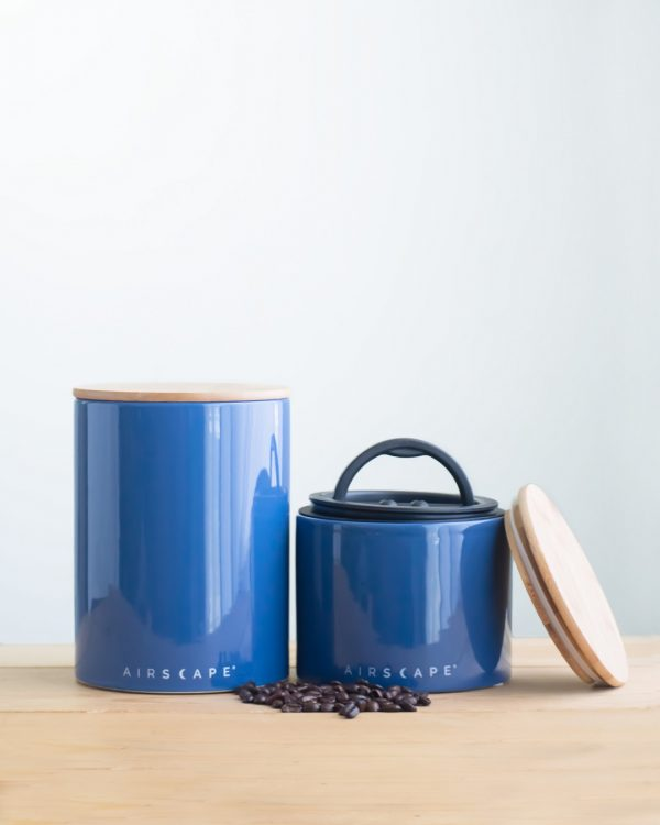 Photo of a large and small blue airscape coffee canister set.