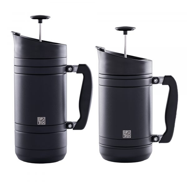 Photo of BruTrek32 and BruTrek48 insulated French Presses in matte black