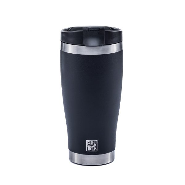 Photo of a black insulated tumbler cup.