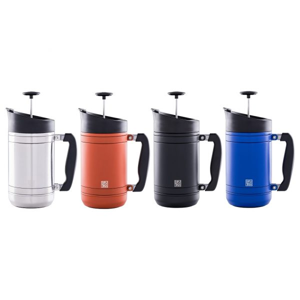 Photo of all colors of 32oz BruTrek insulated French press