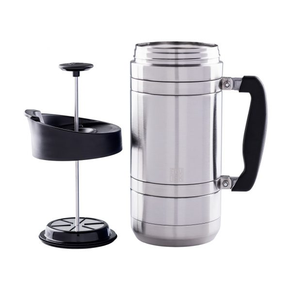 Photo of brushed steel BruTrek insulated French press with plunger on left side