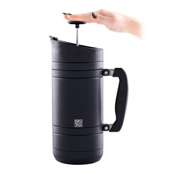 Photo of BruTrek obsidian insulated French press with hand pushing plunger