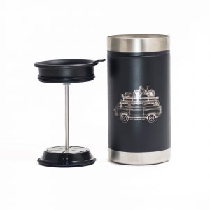 Photo of black insulated steel French Press mug with Westfalia camper van design engraved on it