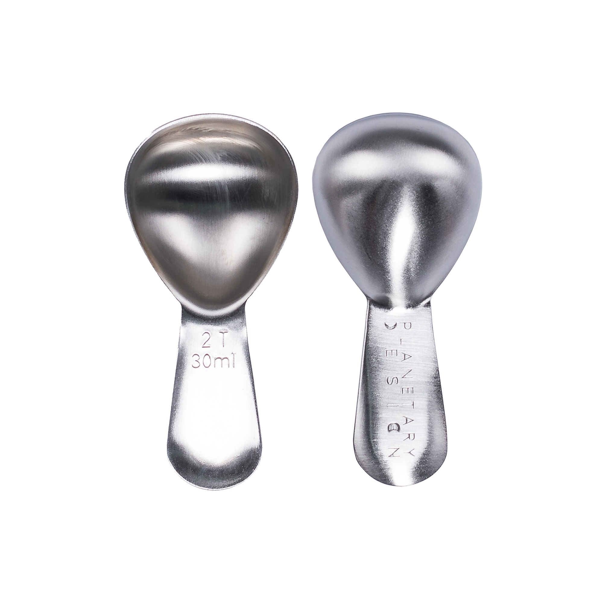 Photo of Stainless Steel Coffee Scoop showing top and bottom of scoop next to each other