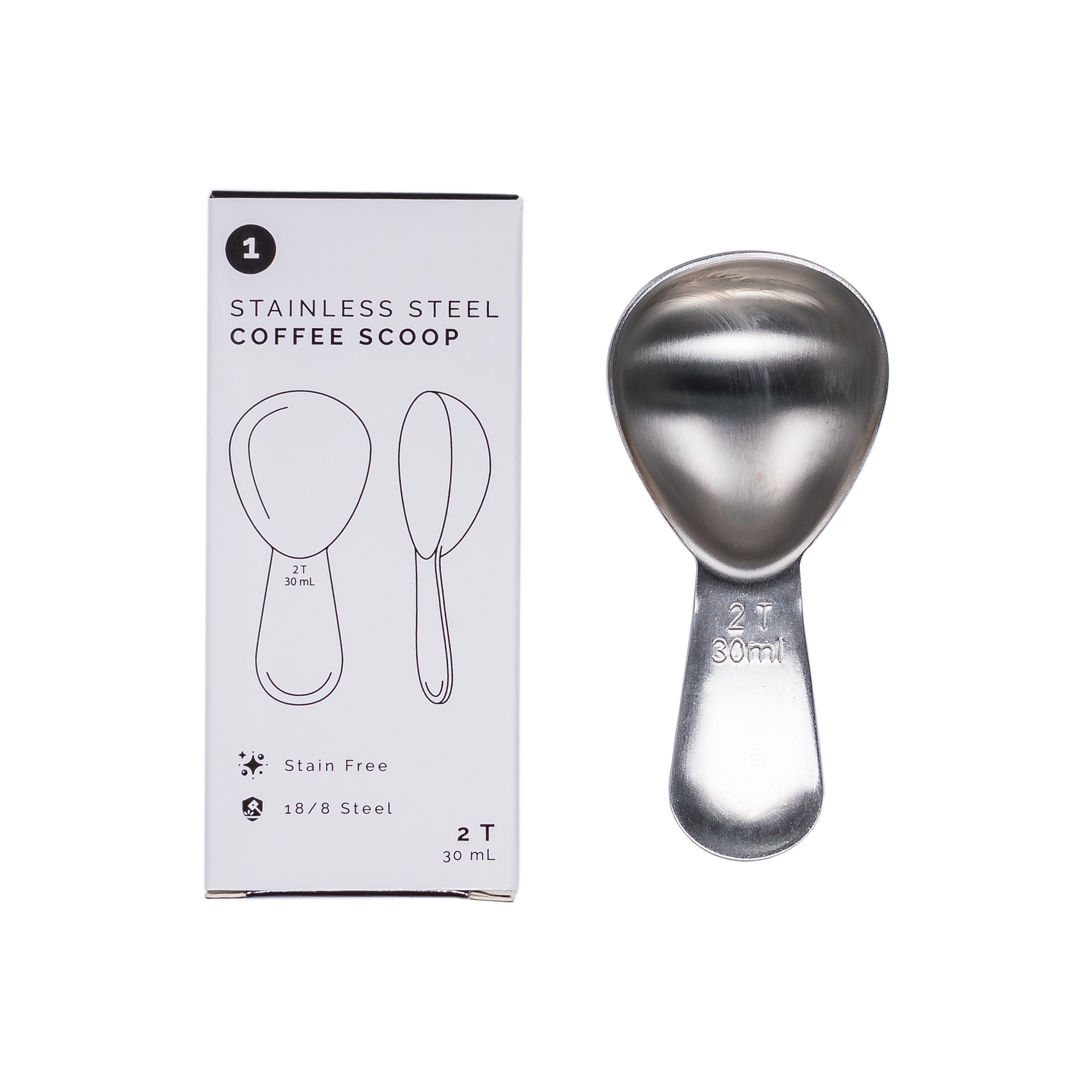 photo of stainless steel coffee scoop next to its retail box