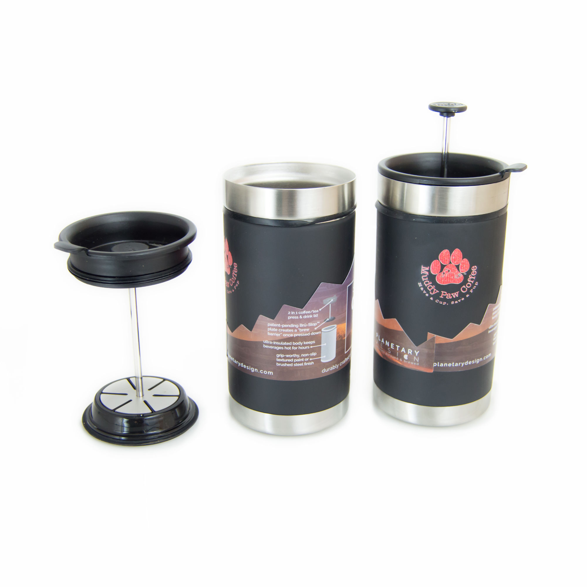 Photo of two travel coffee presses. There is landscpe images on both sides of the mug along with a logo of a paw and small writing.