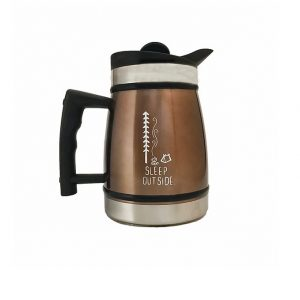"Photo of brown insulated stainless steel French Press with ""sleep outside"" camping deisgn printed on it"